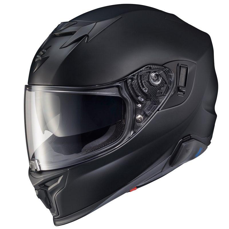 Scorpion Exo Full-Face Matte Black Touring Helmet in 3/4 side view