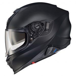 Scorpion Exo Full-Face Matte Black Touring Helmet in side view
